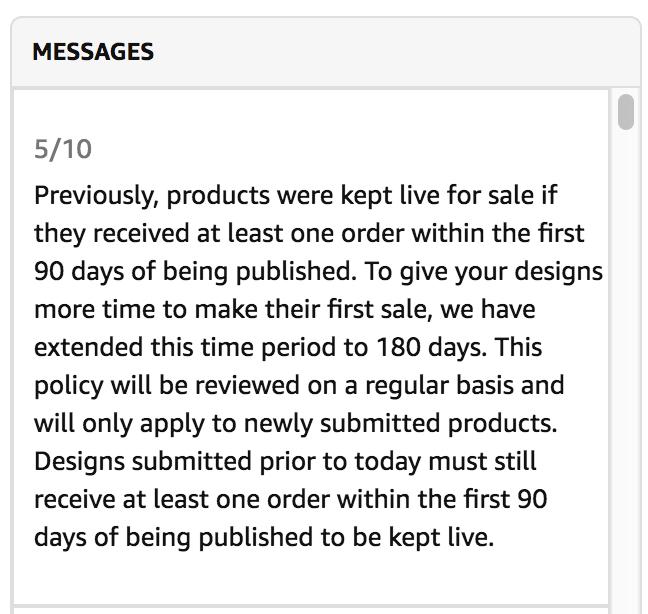 Merch by Amazon Update 10.05.18: 180 Tage Frist für T-Shirts