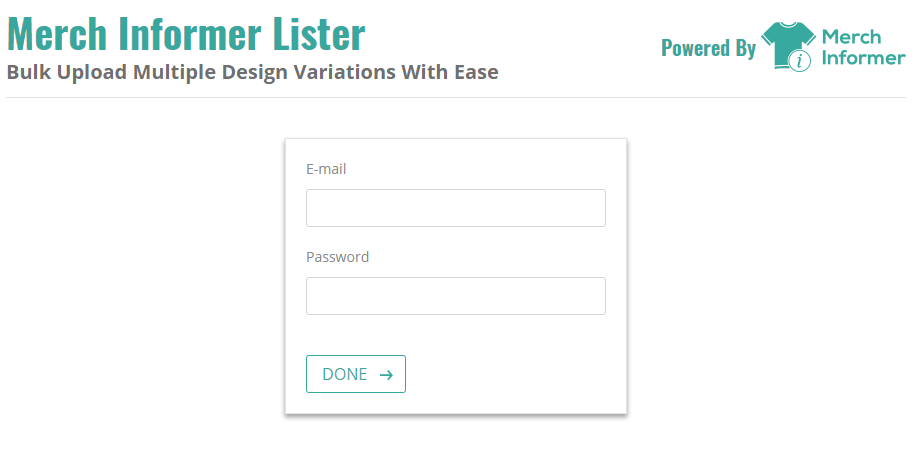 Merch Informer Lister Chrome Plugin - Login